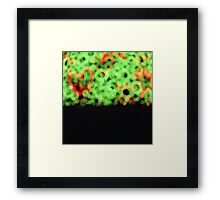 Red love hearts green circles and grass semi abstract square analog film photo Framed Print