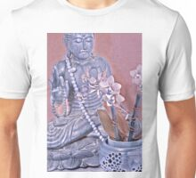 Purple and Rose Pink Buddha with Orchids Unisex T-Shirt