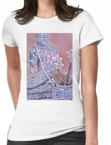 Purple and Rose Pink Buddha with Orchids Womens Fitted T-Shirt