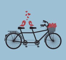 tandem bicycle with cute love birds Baby Tee
