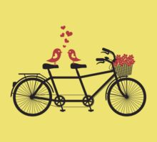 tandem bicycle with cute love birds Kids Tee