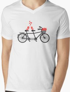 tandem bicycle with cute love birds Mens V-Neck T-Shirt