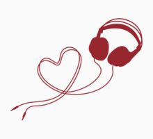 I love music, headphone with red heart One Piece - Short Sleeve