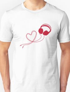 I love music, headphone with red heart Unisex T-Shirt