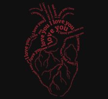 """Red human heart with text """"I love you"""" One Piece - Long Sleeve"""