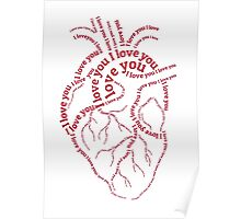 "Red human heart with text ""I love you"" Poster"