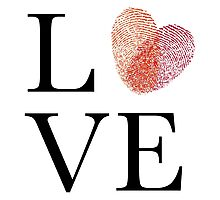 Love with red fingerprint heart Photographic Print