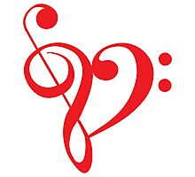 I love music, red heart with music notes Photographic Print