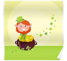 Happy St. Patrick's Day. Cute little Leprechaun Poster
