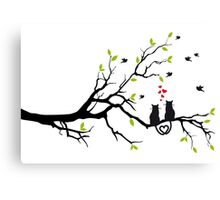Cats in love with red hearts on spring tree Canvas Print