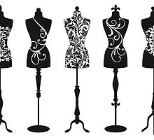Vintage fashion mannequins with pattern by beakraus