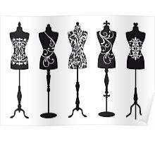 Vintage fashion mannequins with pattern Poster