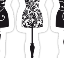 Vintage fashion mannequins with pattern Sticker
