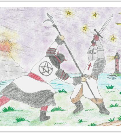 Satanic Samurai Fighting Christian Knight Sticker