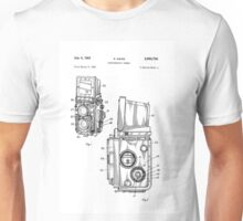 Rolleiflex Twin Lens Film Camera Vintage Patent Drawing  Unisex T-Shirt