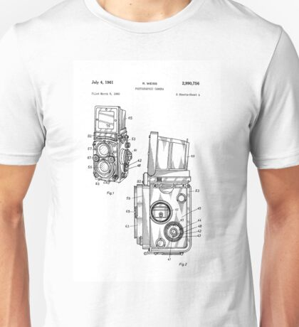 Rolleiflex Twin Lens Film Camera Vintage Patent Drawing  Unisex T-Shirt