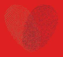 red fingerprint heart Kids Clothes