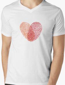 red fingerprint heart Mens V-Neck T-Shirt
