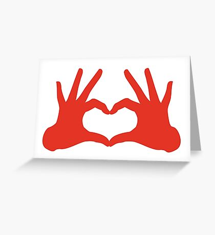 love, red hands with heart sign Greeting Card