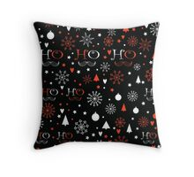 Christmas background with Ho Ho Ho lettering Throw Pillow