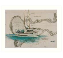 KRISTINA Salmon Gillnet Boat Cathy Peek Nautical Map Art Print