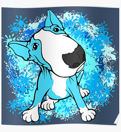 Turquoise English Bull Terrier Dog  Poster