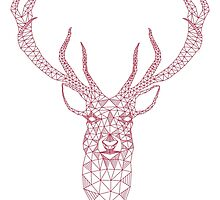 Christmas deer head abstract geometric pattern by beakraus