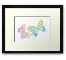 colorful abstract butterflies with shadow Framed Print