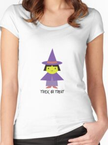 Trick or Treat - Cute Witch Women's Fitted Scoop T-Shirt