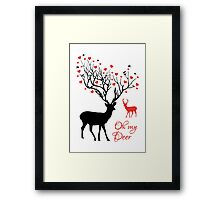 Oh my deer, stag with red hearts, design for Valentine's day, Christmas Framed Print