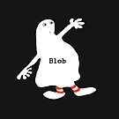 White blob figure with red stripy sox by Mary Taylor