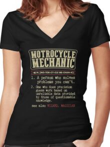 Motorcycle Mechanic Dictionary Women's Fitted V-Neck T-Shirt