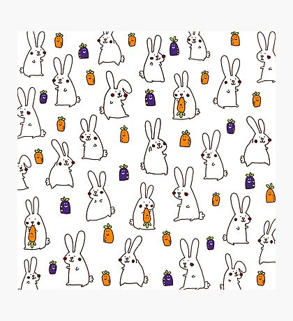 Rabbits in the field Photographic Print