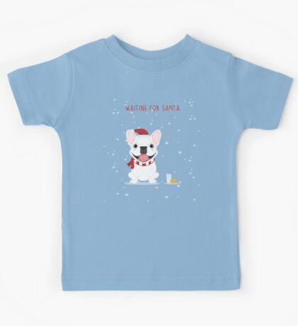 Frenchie Waiting for Santa - White Edition Kids Tee