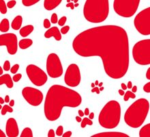 red paws heart Sticker