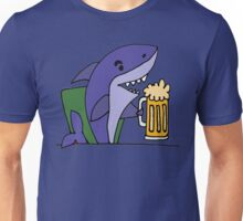 Funny Cool Shark Drinking Glass of Beer Unisex T-Shirt