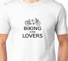 biking is for lovers, tandem bicycle, word art, text design  Unisex T-Shirt