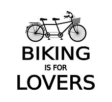 biking is for lovers, tandem bicycle, word art, text design  by beakraus