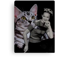 Girl with Grey Cat Canvas Print