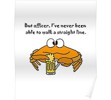 Funny Funky Crab Drinking Beer Cartoon Poster