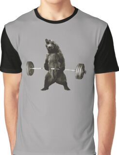 Bear Lifting Weights Funny Graphic T-Shirt