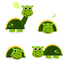 Cartoon dino collection illustration : green! Photographic Print