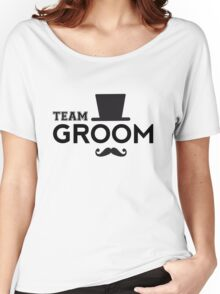 Team Groom t-shirt with hat and mustache Women's Relaxed Fit T-Shirt