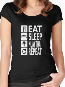 EAT sleep muay thai REPEAT Funny Women's Fitted Scoop T-Shirt
