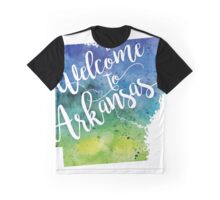 Arkansas Watercolor Map - Welcome to Arkansas Hand Lettering - Giclee Print of Original Art Graphic T-Shirt