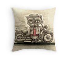 grumpy biker cat Throw Pillow