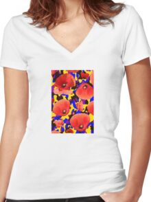 Poppie Camouflage Red Yellow - Living Hell Women's Fitted V-Neck T-Shirt