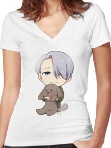 Yuri!!! on Ice Chibi Viktor 2 Women's Fitted V-Neck T-Shirt