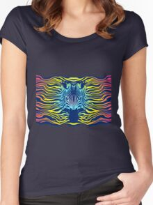 Swimming Zebra in Summer Sunset Sea Women's Fitted Scoop T-Shirt