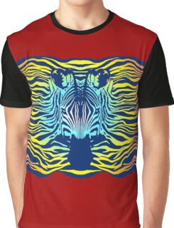 Swimming Zebra in Summer Sunset Sea Graphic T-Shirt